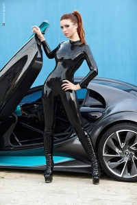 Kay Morgan by Marcus Gloger - Black catsuit & citroen survolt -